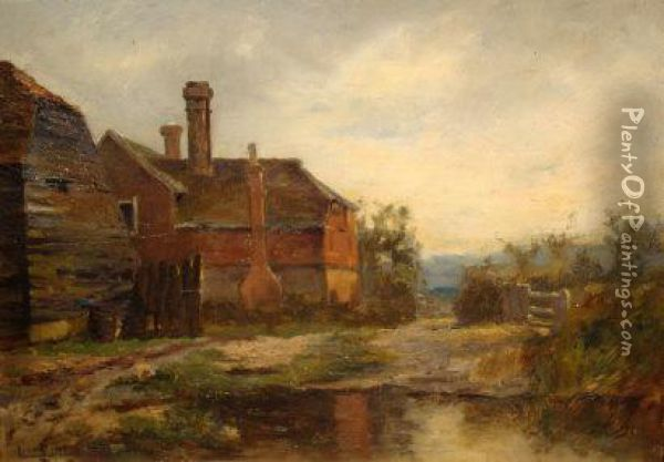 A Farmhouse And Barn Beside A Duck Pond Oil Painting - Lionel Birch