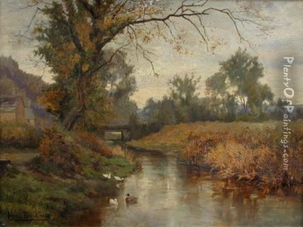 Ducks On A River Oil Painting - Lionel Birch