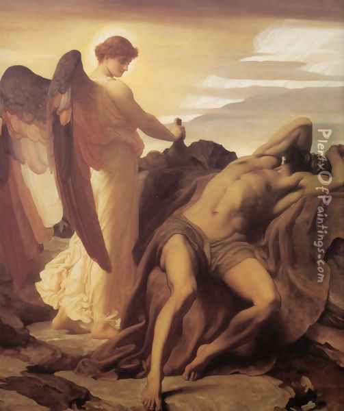 Elijah In The Wilderness Oil Painting - Lord Frederick Leighton