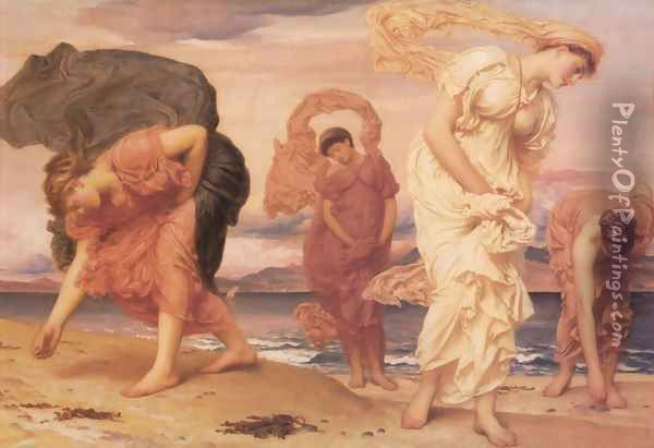 Greek Girls Picking Up Pebbles By The Sea Oil Painting - Lord Frederick Leighton