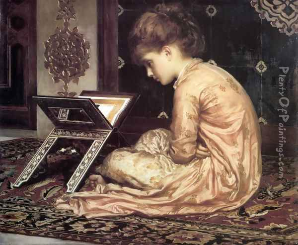 Study, At a Reading Desk Oil Painting - Lord Frederick Leighton
