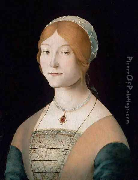 Portrait of a Woman with a Pearl Necklace Oil Painting - Lorenzo Costa