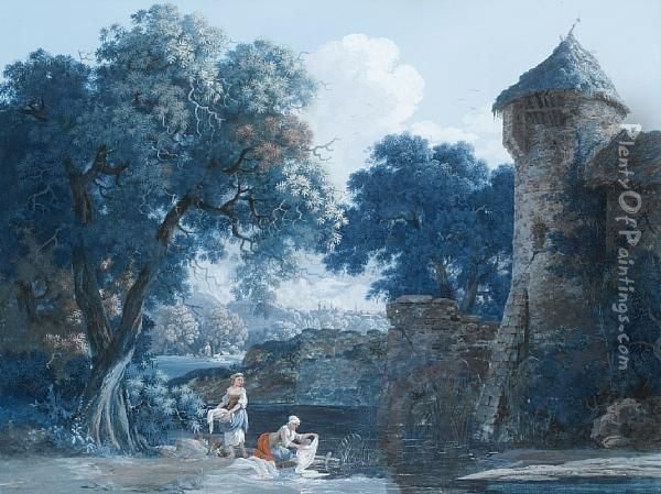 Washerwomen At A Stream Before A Chateau, Within A Painted Border Oil Painting - Louis, Baron Bacler D Albe