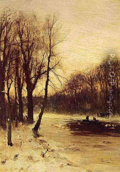 Figures In A Winter Landscape At Dusk Oil Painting - Louis Apol