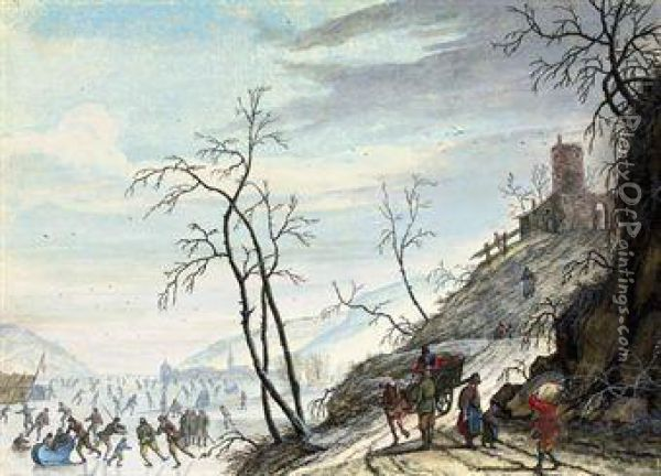 A Dutch Winter Landscape With Figures Skating On A Frozenriver Oil Painting - Louis Chalon