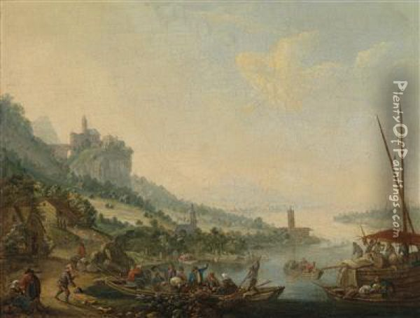 A River Landscape With A Ferry Boat And Acastle On A Hill Oil Painting - Louis Chalon