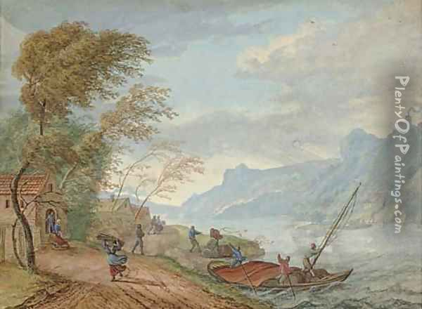 A river landscape in a storm with peasants on a track and boatmen steering a ferry Oil Painting - Louis Chalon