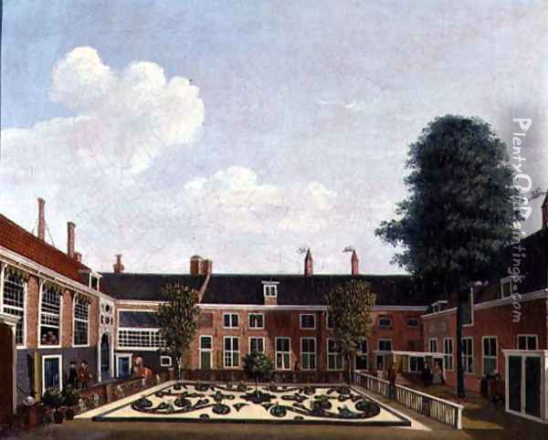 The Garden of The Former Amsterdam Leprozenhuis, 1735 Oil Painting - Louis Chalon