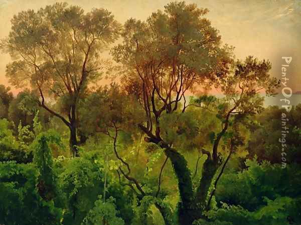 Slope with Olive Trees Oil Painting - Louis Gurlitt
