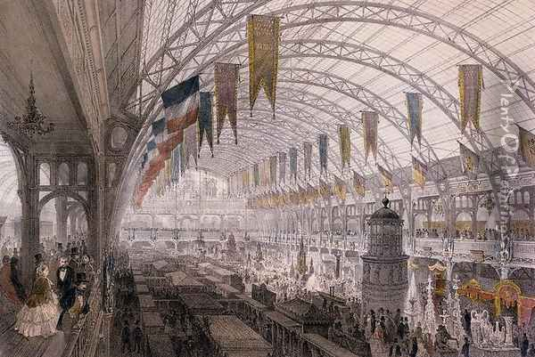 Interior view of the Palais de l'Industrie at the Exposition Universelle in 1855 Oil Painting - Louis Jules Arnout