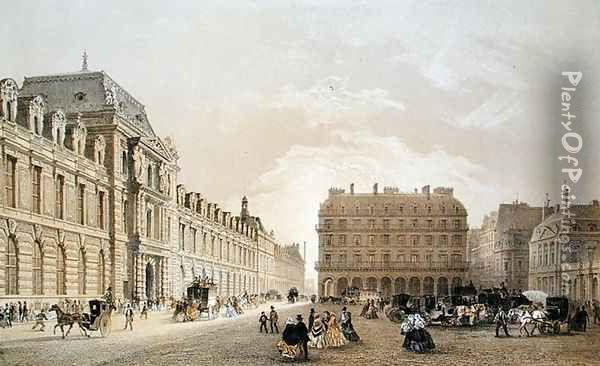 View of the facade of the Louvre, the Rue de Rivoli and the Palais Royal 1855 Oil Painting - Louis Jules Arnout
