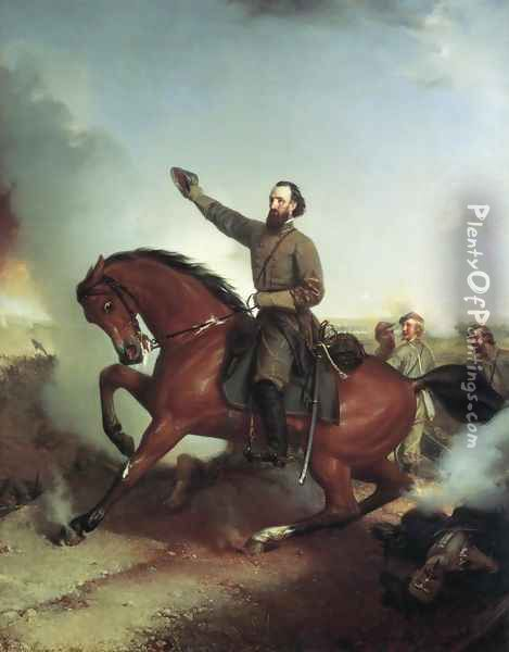 Stonewall Jackson at the Battle of Wiinchester, Virginia Oil Painting - Louis Mathieu Didier Guillaume