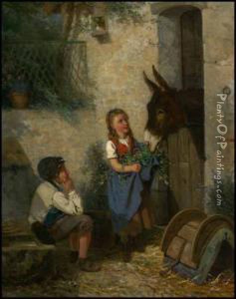 Children Feeding A Donkey Oil Painting - Louis Simon Lassalle