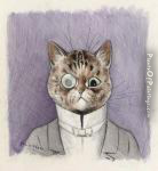 A Gentleman Cat, Monocle In Place Oil Painting - Louis William Wain