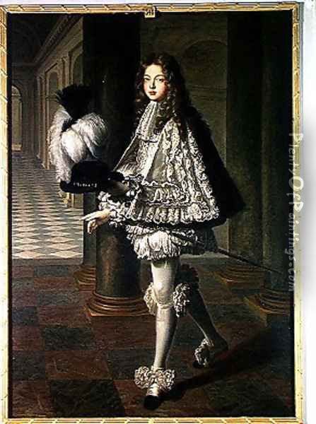 Louis Alexandre de Bourbon, Count of Toulouse in the Costume of a Novice of the Order of the Holy Spirit, 1693 Oil Painting - Louis de, the Younger Boulogne