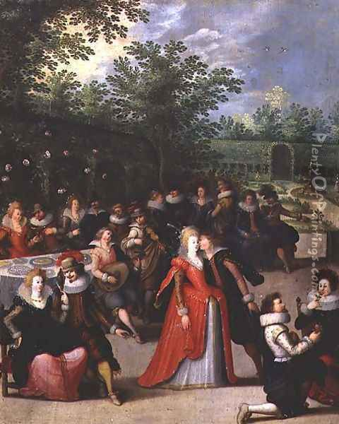 In the Garden of Love, or The Five Senses, 1618 Oil Painting - Louis de Caulery