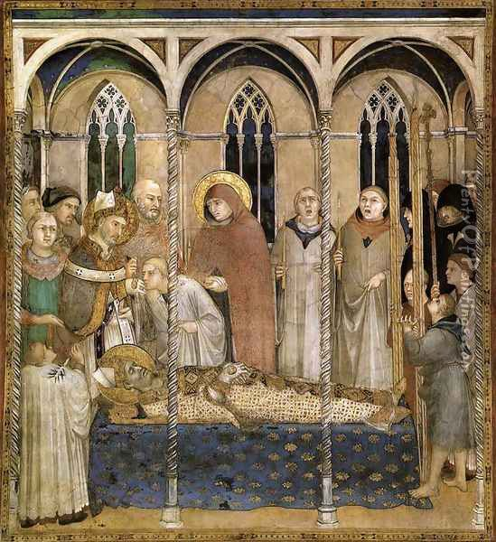 Burial of St Martin (scene 10) 1312-17 Oil Painting - Louis de Silvestre