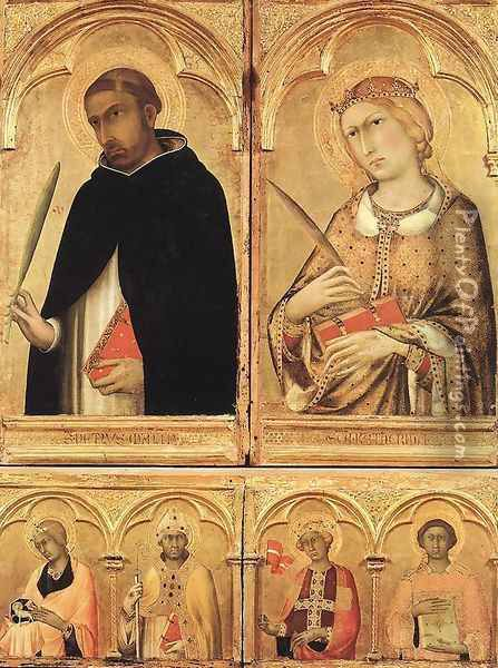 Polyptych of Santa Caterina (detail-2) 1319 Oil Painting - Louis de Silvestre