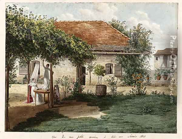 The garden of a small country house near Aix-les-Bains, with two ladies at a table under a pergola, one reaching for grapes Oil Painting - Louise Cochelet