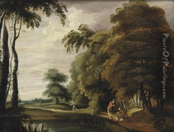 A Wooded Landscape With Travellers On A Track Near A Pond Oil Painting - Lucas Achtschellinck