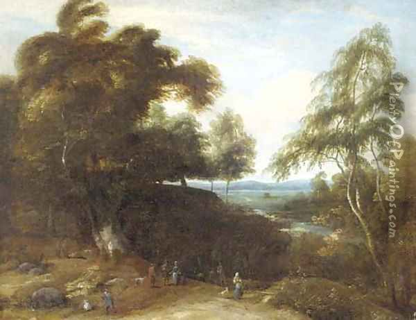 A wooded landscape with figures and dogs in a clearing Oil Painting - Lucas Achtschellinck