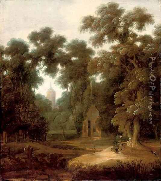 A wooded landscape with figures at rest on a track, a cottage and church beyond Oil Painting - Lucas Achtschellinck
