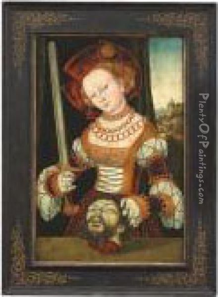 The Elder , 16th Ct. Judith With The Head Of Holofernes. Signed And Dated 1529 Oil Painting - Lucas The Elder Cranach