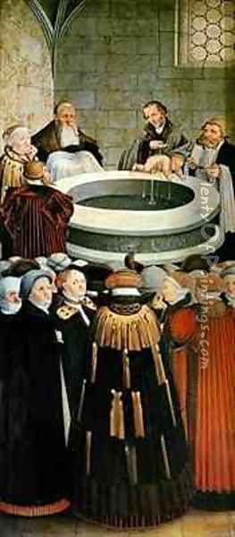 Triptych left panel Philipp Melanchthon performs a baptism assisted by Martin Luther centre panel the Last Supper with Luther amongst the Apostles right panel Luther makes his confession Luthers sermon below Oil Painting - Lucas The Elder Cranach