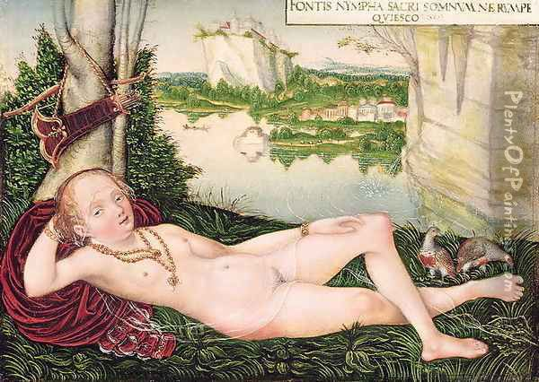 Resting Naiad Oil Painting - Lucas The Younger Cranach