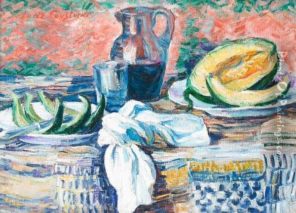 Nature Morte Au Melon Oil Painting - Lucie Cousturier