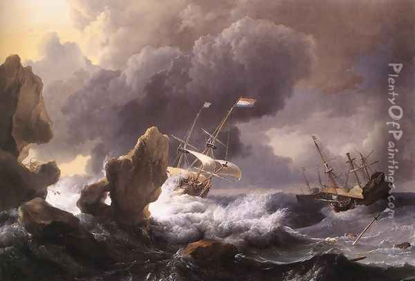 Ships In Distress Off A Rocky Coast 1667 Oil Painting - Ludolf Backhuysen