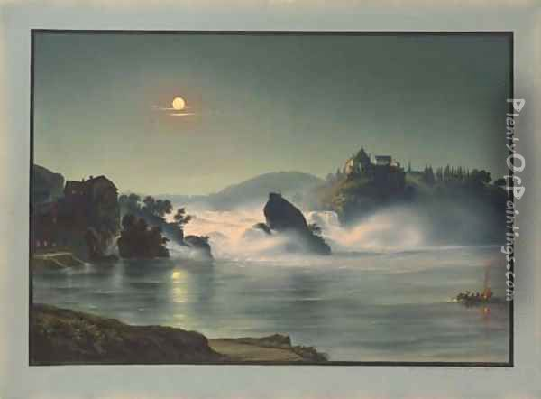 The Falls at Schauffhausen at night, the Castle of Laufen in the background Oil Painting - Ludwig Bleuler