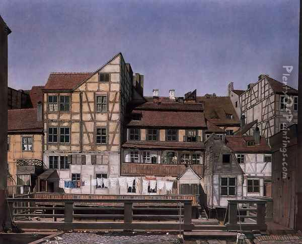 Houses at a Millrace 1820 Oil Painting - Ludwig Deppe