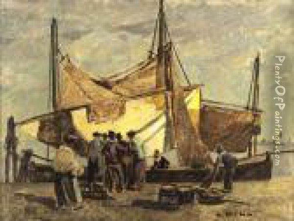 Fischerboot Oil Painting - Ludwig Dill