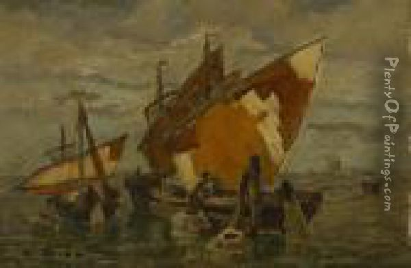 Fischerboote In Der Lagune. Oil Painting - Ludwig Dill