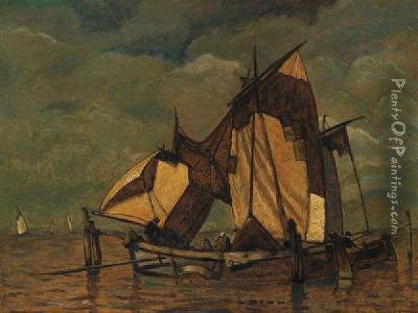 Fischerboote In Der Lagune Oil Painting - Ludwig Dill