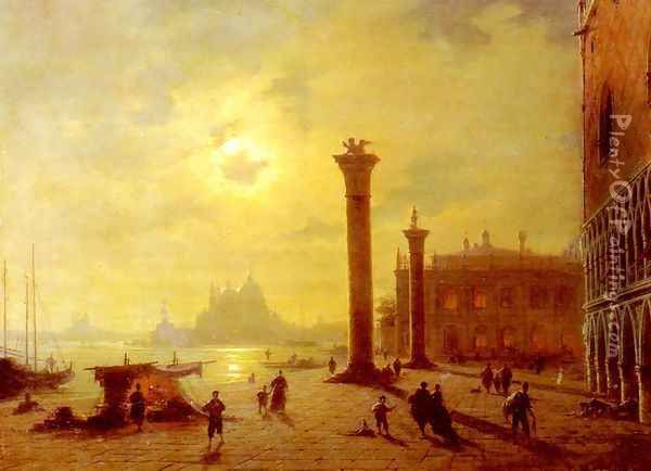 The Piazetta, Venice Oil Painting - Ludwig Mecklenburg
