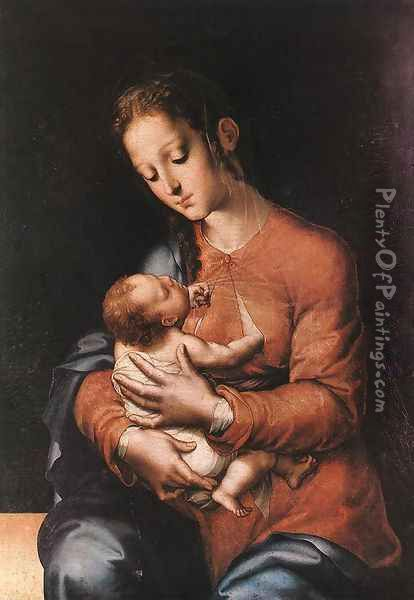 Madonna with the Child c. 1570 Oil Painting - Luis de Morales