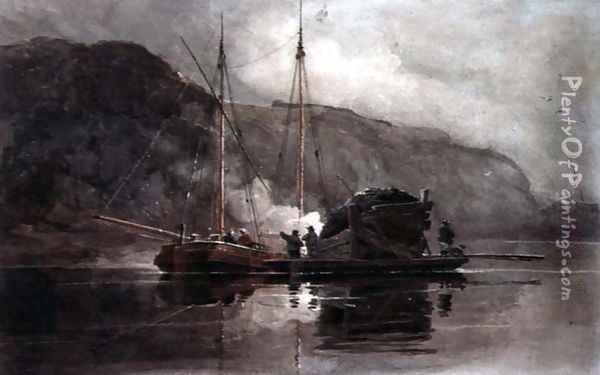 Coal Barges on the Medway Oil Painting - Luke Clennell
