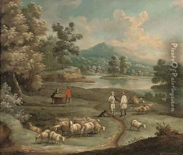 An extensive mountainous landscape, with figures and a wagon on a path by a lake; and A river landscape with shepherds conversing Oil Painting - Marc Baets