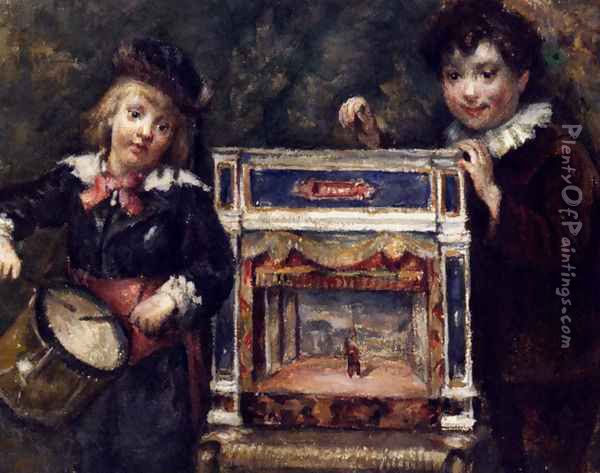 Portrait Of The Artist's Two Sons With Their Puppet Theatre Oil Painting - Marcellin Desboutin
