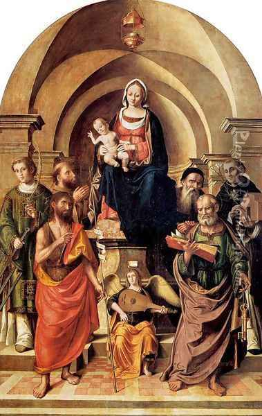Virgin and Child Surrounded by Saints 1537 Oil Painting - Marco Palmezzano