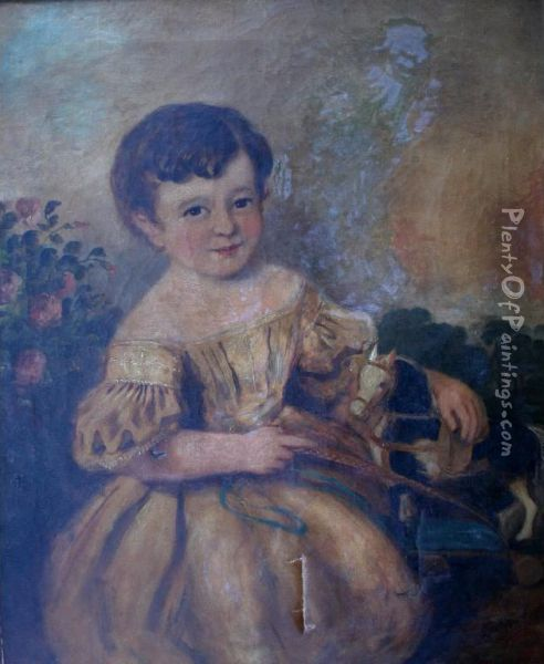 Portrait Of A Young Boy With A Toy Horse Oil Painting - Margaret Sarah Carpenter