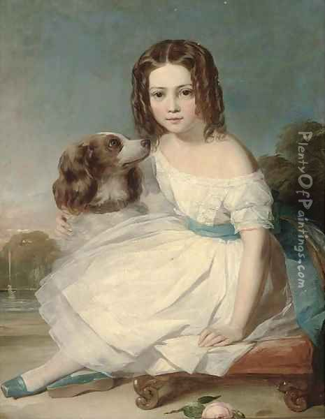 Portrait of a girl, seated full-length, in a white dress, stroking a spaniel, a fountain beyond Oil Painting - Margaret Sarah Carpenter