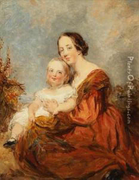 The Hon.mrs.h.marshall And Her Son Oil Painting - Margaret Sarah Carpenter