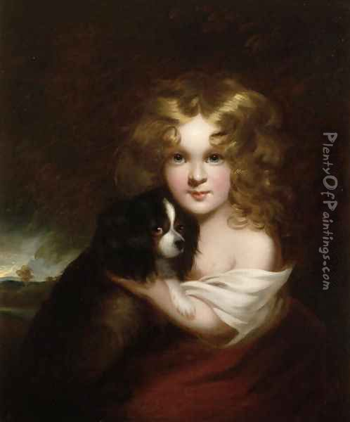 Young Girl with a Dog, c.1840 Oil Painting - Margaret Sarah Carpenter