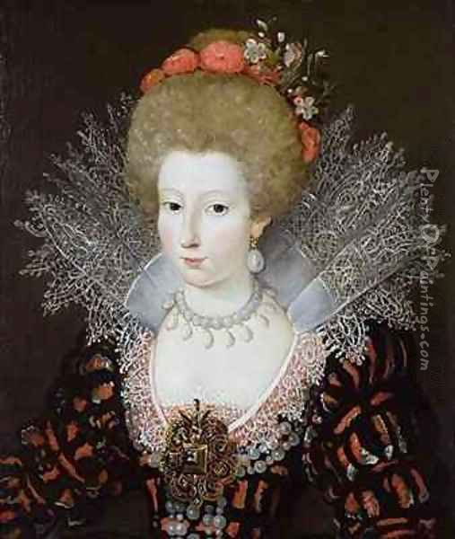 Portrait of a lady in a high lace collar and jewelled silk costume Oil Painting - Marguerite Bunel