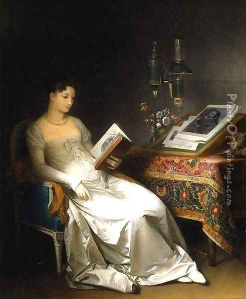 Lady Reading in an Interior Oil Painting - Marguerite Gerard