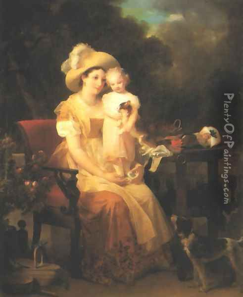 Young Woman and Child Oil Painting - Marguerite Gerard