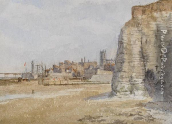 Fishing Beach Scene Possibly Hastings,  View Of Thelandgate Oil Painting - Maria Louisa Angus